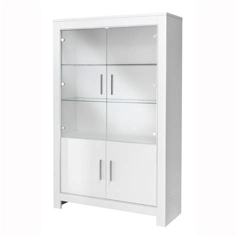 lorenz wide glass display cabinet in white high gloss with