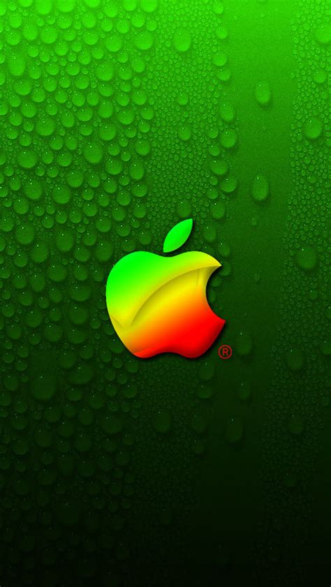 wallpaper for iphone 5 theme green drops water color apple logo hd iphone 5 wallpapers