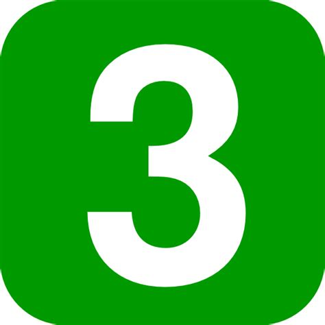 3 Number Three Green Square Rounded Edge Clip Art At Clker