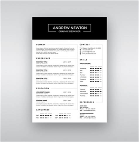 Curriculum Vitae Template Vector Free Download Black And White Resume Template