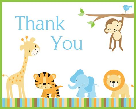 free templates for baby shower thank you notes baby shower thank you notes jungle safari theme set of 100