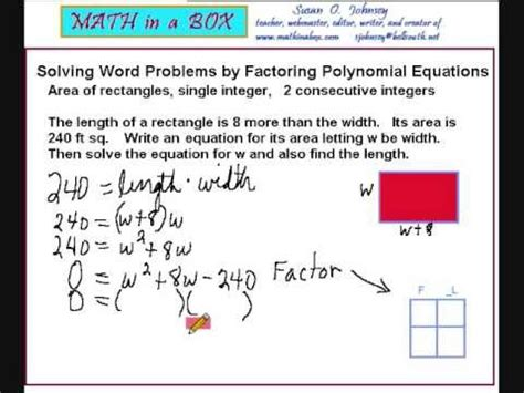 Polynomial Word Problems Worksheet by Solving Word Problems By Factoring Polynomials Area Of A
