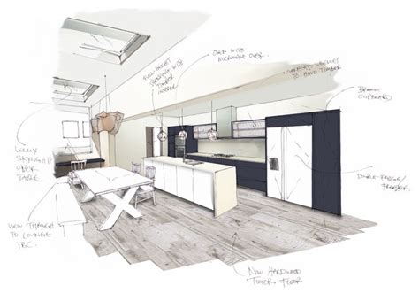 kitchen layout presentation perspective drawings contemporary rendering london