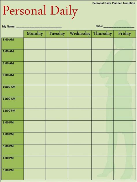 Daily Planner Template My Work Pinterest Planner Template And Daily Calendar My Daily Schedule Template