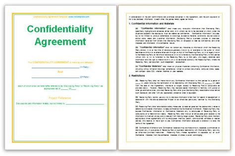 confidentiality agreements templates http www mstemplate confidentiality agreement