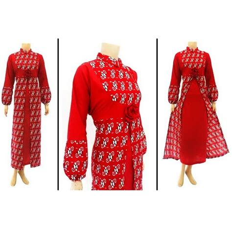 Gamis Dress Wanitapastela Dress dress muslim batik lesta shop