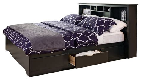 sonoma bookcase platform storage bed black king transitional platform beds by cymax