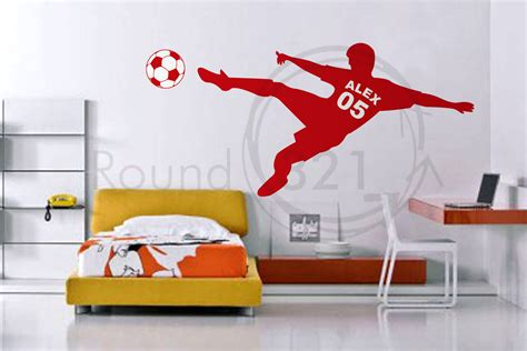 soccer decals for bedroom soccer wall decal with personalized name number and by round321