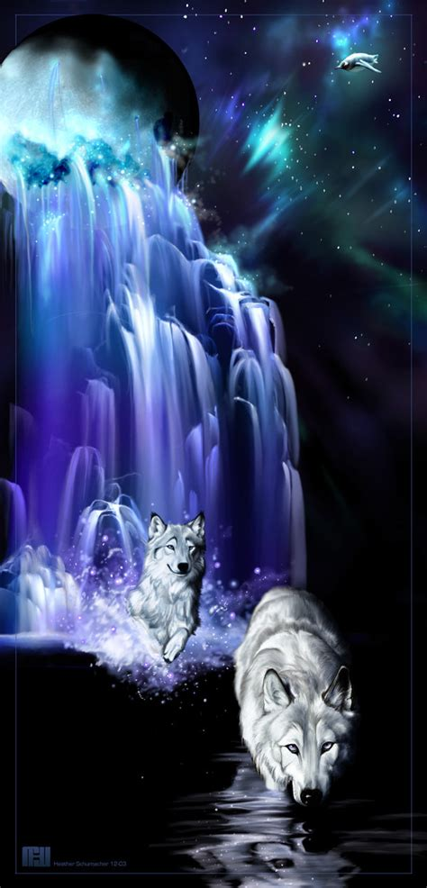 the wolves in the waterfall by novawuff on deviantart