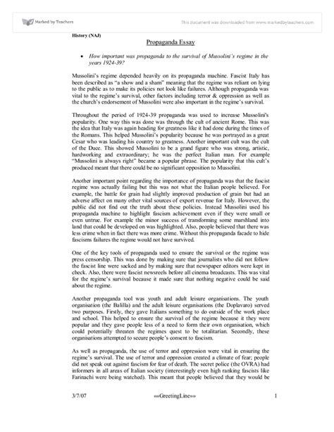 Propaganda Essay by Propaganda Essay Propaganda In Ww1 A Level History Marked By Teachers Ayucar