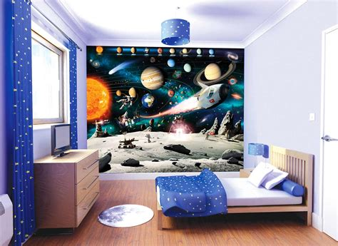 space bedroom wallpaper walltastic fototapete kinderzimmer wandbild weltraum