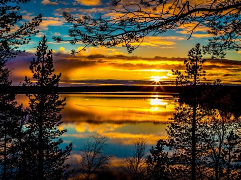 sunrises  sunsets sky rivers clouds trees hdr nature