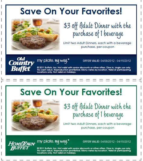 Buffet Coupons 3 Bucks Dinner With Your Beverage At Hometown Buffet