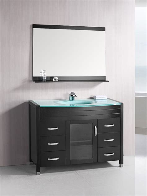 single vanity top 48 quot waterfall single bath vanity glass top