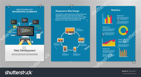 information flyer template information technology infographic elements web