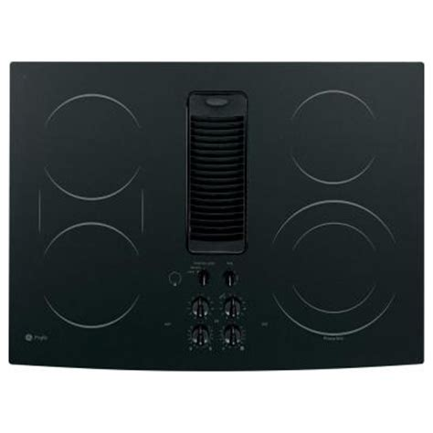 Ge Electric Cooktop With Downdraft ge profile 30 in glass ceramic downdraft radiant electric cooktop in black with 5 elements