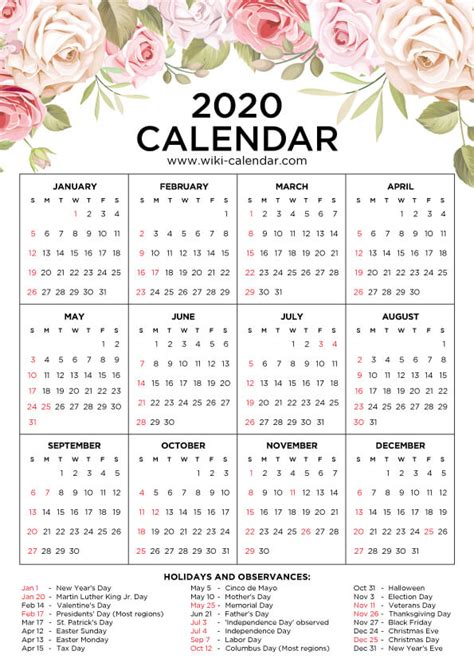 printable  floral calendar