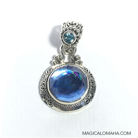 sterling silver lunar topaz pendant 1 25 inches total