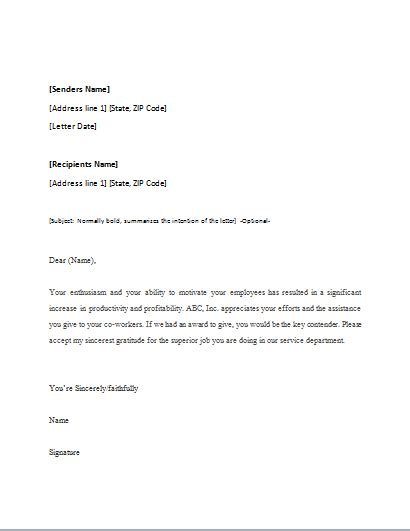 appreciation letter to junior appreciation letter template for word word excel templates
