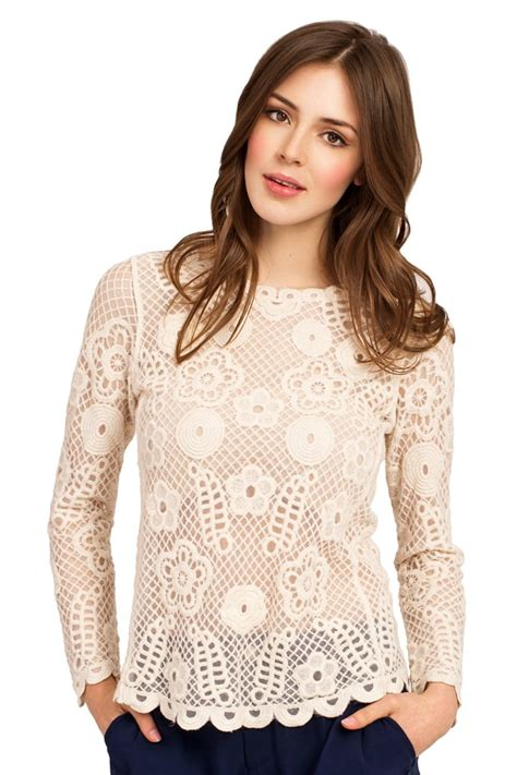 Sleeved Lace Top beige lace detail sleeve top
