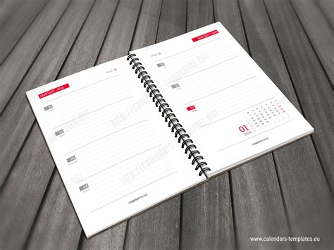 daily calendar planner notebook template   year printable planner
