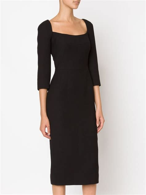 Dress Square Black lyst dolce gabbana fitted square neck dress in black