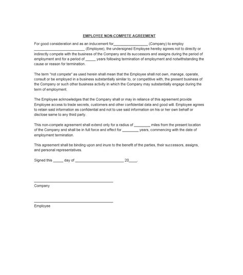 non compete clause template 39 ready to use non compete agreement templates free