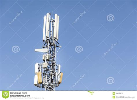 antennas on mobile network tower on a blue sky global system for mobile communications stock