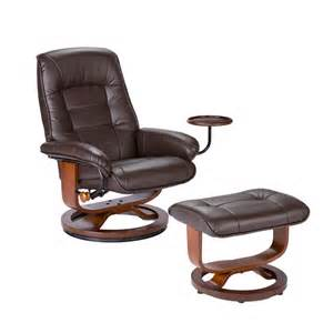 Recliner Table Bonded Leather Birch U Base Swivel Glider Reclining Chair