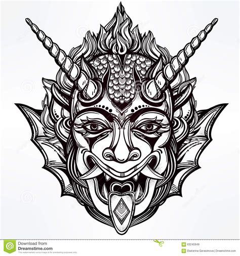 hand drawn portrait of a horned daemon stock vector