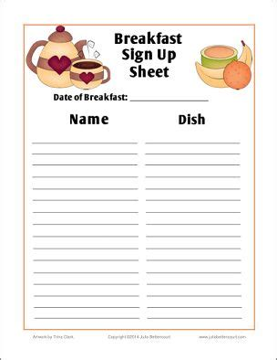 breakfast sign up sheet free printable: (made2bcreative