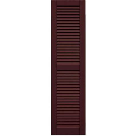pinecroft 15 in x 59 in louvered shutters pair winworks 15 in x 59 in louvered shutters pair 657