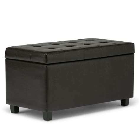 Square Leather Storage Ottoman Coffee Table Leather Storage Ottoman Bench Foot Stool Tufted Seat