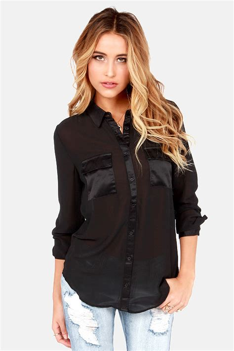 Top Button Black by Black Top Button Up Top Sheer Top 59 00