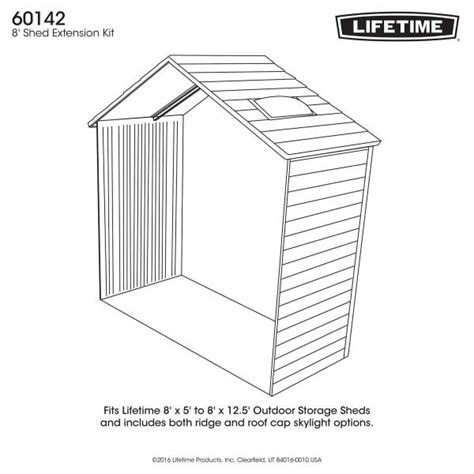 lifetime shed accessories 60142 2 5 ft extension kit for 8