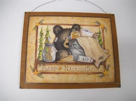 country bathroom wall decor bear necessities wooden country bathroom wall art sign