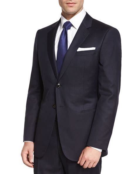 St Armani lyst giorgio armani wall st pinstripe two suit in black for