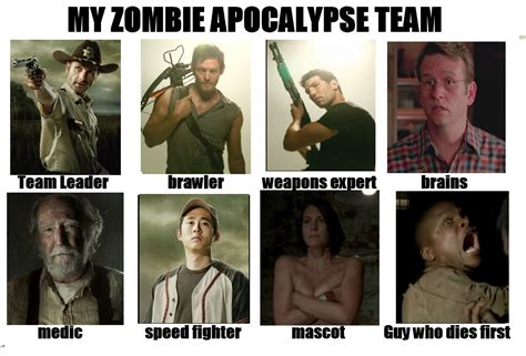 Zombie Team Meme - walking dead survival apocalypse team my zombie