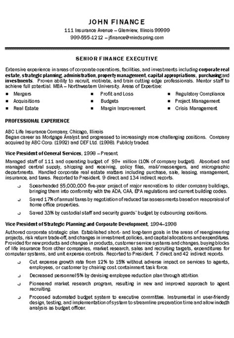 insurance executive resume exle executive resume resume exles and template