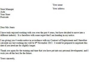 Handing In Resignation Letter by Asda Resignation Letter Exle Resignation Letter Exles