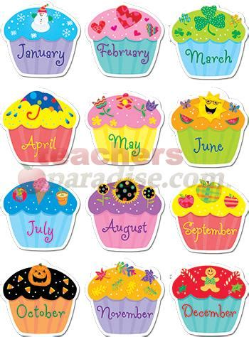 8 best images of monthly birthday cupcake printables
