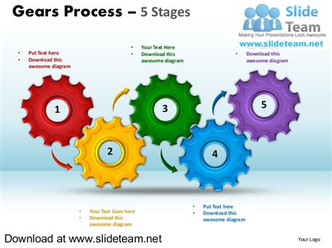 Interconnected Gear Pieces Smart Arts Process 5 Stages Style 1 Power Powerpoint Gears Template