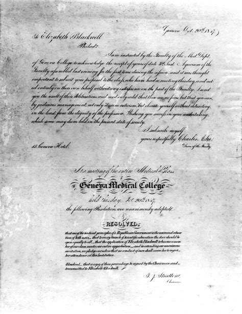 Philadelphia Acceptance Letter Elizabeth Blackwell That There Is Doctor Of Medicine Admission