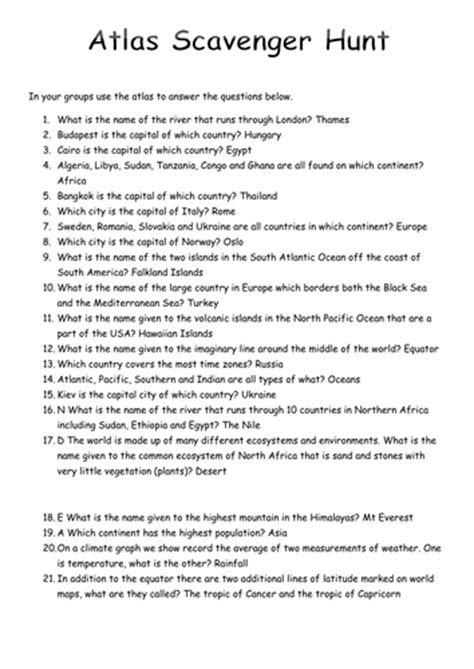 Scavenger Hunt Worksheet Answers by Atlas Scavenger Hunt By Victoria1987 Teaching Resources