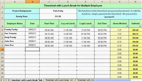 employee break and lunch schedule template