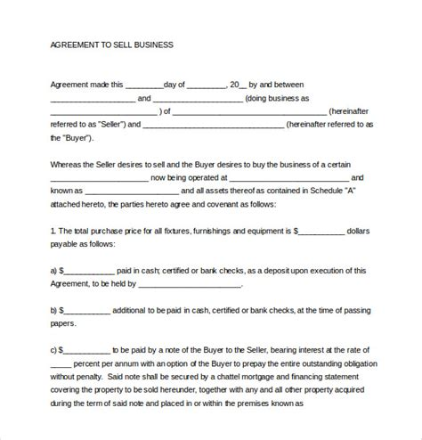 purchase of business agreement template free 15 sales agreement templates free sle exle