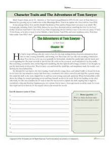 character traits worksheets the adventures of tom sawyer