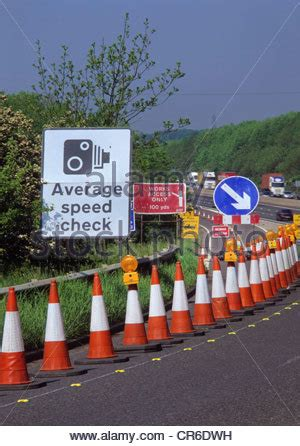 average speed camera warning sign, in roadworks, m1