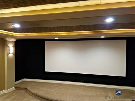 home theatre room screen  black acoustic fabric beige