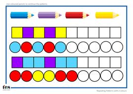 continuing patterns ks1 shape repeating pattern sequences by tesearlyyears teaching